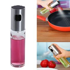 Stainless Steel Glass Oil Pump Spray Fine Bottle Olive Oil Sprayer Leak-proof Drops Oil Dispenser BBQ Kitchen Cooking Tools #Affiliate