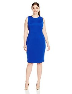 Calvin Klein Womens Plus Size Seamed Sleeveless Sheath Dress Atlantis 14W * Check out this great product.