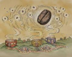 Coffee Print, vintage, coffee bean whimsical, art x Giclee Print from Original Illustration I Love Coffee, Coffee Art, Coffee Cups, Coffee Town, Morning Coffee, Coffee Corner, Coffee Culture, Decoupage Paper, Vintage Coffee