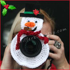 Snowman Camera lens buddy. Crochet lens by KikisKreationsprops