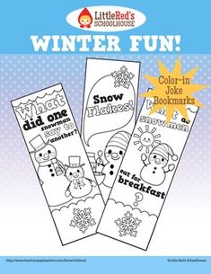 FREE! - Winter Fun Color-in Joke Bookmarks~ A cute coloring activity for students - joke bookmarks for the winter season! This set contains four designs featuring original artwork. (Free for personal/educational use only © Little Red's Schoolhouse)