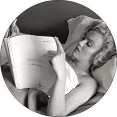 """Marilyn Monroe """"Reading in Bed"""" Pin.  I'd like pictures like this for my bedroom."""