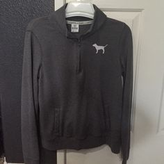 Pink half zip Size small, great condition no flaws normal small cracking but can barely be seen .. It's from washes (no trades at the moment due to urgent family issue... post is listed in my closet) thanks and happy poshing OFFERS ONLY CONSIDERED AND ACCEPTED THRU OFFER BUTTON PLS❤️ PINK Victoria's Secret Sweaters