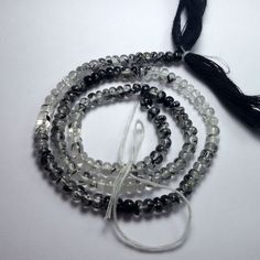 51.2 Carat Natural Black Rutile 4 to 4.5 MM Smooth Rondelle Beads 14 Inch Strand #Unbranded