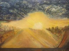 SUNSET - Driving into Utah in Sunset - Window View. by PanuszkaPaintings on Etsy
