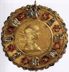 Portrait Medal of Isabella d'Este 1495-98 Gold with diamonds and enamel, diameter 7 cm Kunsthistorisches Museum, Vienna
