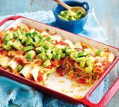 Chicken enchiladas - Healthy Food Ideas recipe Kinda bland but ok. Vegetable Enchiladas, Enchiladas Healthy, Chicken Enchiladas, Cooking Recipes, Healthy Recipes, Healthy Foods, Healthy Dishes, Clean Eating, Healthy Eating