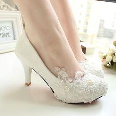Handmade sapatos de casamento do laço branco sapatos de noiva sapatos de  dama de honra banquete db60cf46505e
