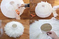 Comment fabriquer une suspension lumineuse avec des plumes! DIY - Tutoriel - Décoration