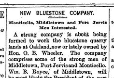 Bluestone, 1890 The Quarrymen, Port Jervis