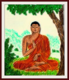 Lord Buddha Immage in quilling