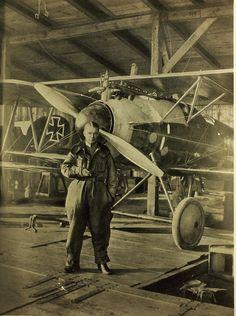 Ernst Udet with an Albatros D Va | Catalog #: 01_00086659 Title: Albatros Designation: D Va  Repository: San Diego Air and Space Museum Archive