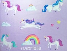 Snuggle your sweetheart in this soft, silky, custom baby unicorn blanket. This adorable, dreamy microfleece blanket is perfect for a unicorn or rainbow themed nursery or bedroom. These blankets also make for beautiful, unique gifts - perfect for a birthday, baby shower, christening, Easter or Christmas! PSSST: Be sure to check out my Etsy storefront for other nursery decor items, mugs, gifts, games & more: OHPDesignBoutique.etsy.com  _______________________________________________________...