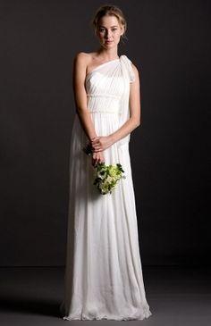 Jenny Yoo bridal dress sale.  One shoulder silk chiffon gown.  $330