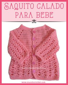 English version with charted pattern: http://www.mundocrochet.com/baby-crochet-cardigan/