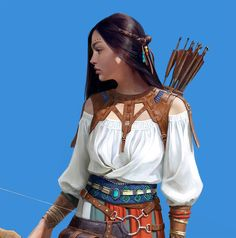 Archer Girl by Yujin kim Archer Characters, Fantasy Characters, Female Characters, Character Bank, Fantasy Character Design, Character Concept, Fantasy Inspiration, Character Inspiration, Character Ideas