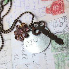 Assemblage Vintage Tag and Key charm necklace by outoftheblue, $28.00