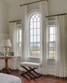 JRL Interiors — Designing Curtains for Challenging Windows - Palladian window draperies in a house on Martha's Vineyard by Patrick Ahearn, architect - Curtains For Arched Windows, Bedroom Windows, Sheer Curtains, Arch Windows, Gothic Windows, Window Drapes, Elegant Curtains, Hang Curtains, Bedroom Curtains