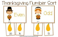 Thanksgiving number sort printable to help preK and K children sort odd and even numbers from Preschool Themes, Montessori Activities, Preschool Activities, Thanksgiving Activities For Kids, Kindergarten Thanksgiving, Homeschool Math, Homeschooling, Numbers For Kids, Fall Projects