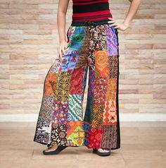 Vibrant Unique Wide-legs Women's Patchwork Pants Cotton Elastic Waist Expandable Design Gypsy Hippie Boho Trousers (PS-04). $39.00, via Etsy.
