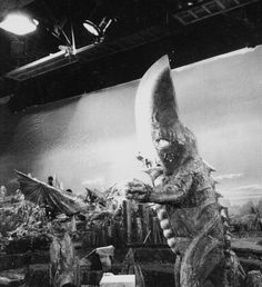 "kaijusaurus: ""Space Gyaos and Guiron on the set of Gamera vs. Guiron (1969). """