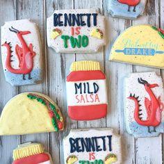 Dragons love Tacos and birthday boys love cookies! #bakedbydrake #dragonslovetacos #dragons #tacos #tacocookies #jerseyvillagetx