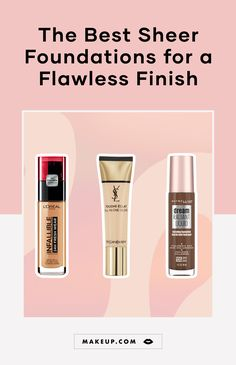 These are the best sheer foundations to try if you prefer a lightweight formula and a natural makeup look. Makeup Eyeshadow Palette, Highlighter Makeup, Contour Makeup, Blush Makeup, Eyebrow Makeup, Sheer Foundation, No Foundation Makeup, Tinted Moisturizer