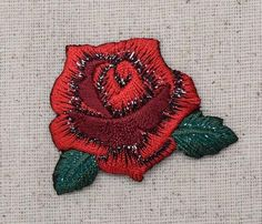 Iron On Embroidered Applique Patch Medium Red Rose with Green Leaves 103109A