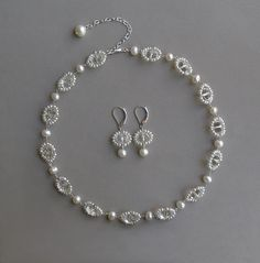 Royal Crystal and Pearl Bridal Necklace Clear by MariDesign
