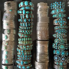 Plain Sterling Cuffs..One Stone Cuffs and many stone cuffs..nice colors of turquoise..☮♥♓