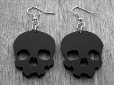 Black Skull Earrings Black Skull Jewelry Gothic by InkandRoses13