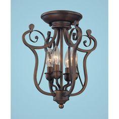 Chateau Rubbed Bronze Four-Light Semi-Flush - Millennium Lighting - master water closet