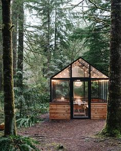 Mar 2020 - Tina and Brian of (multee)project celebrated their wedding anniversary at a cute new greenhouse venue in the woods! Outdoor Spaces, Outdoor Living, Outdoor Decor, Outdoor Fun, Dream Garden, Home And Garden, Glass House Garden, Glass Green House, Garden Bed