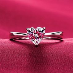 Buy SHIPEI Orignal 925 Silver/perfect Cut Hearts & Arrows Created Diamond Heart Shaped Solitaire Rings For Women, Wedding Rings Fine Jewelry at Wish - Shopping Made Fun 1 Carat Diamond Ring, Unique Diamond Rings, Unique Rings, Heart Wedding Rings, Heart Ring, Diamond Heart, Wedding Band, Promise Rings For Her, Rose Gold Engagement Ring