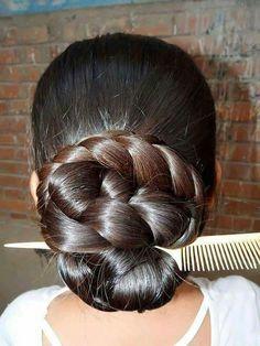 Braid Buns, Bun Updo, Ponytail, Beautiful Buns, Beautiful Long Hair, Slick Hairstyles, Braided Hairstyles, Thick Braid, Low Buns