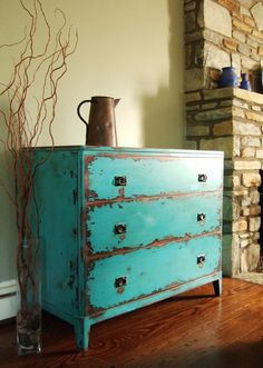 Antiqued Teal Green Chest of Drawers by Artisan8 on Etsy, $795.00
