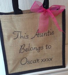 Auntie Gift - Personalised Jute tote bag for Aunt, Aunty from Nephew and Niece. Unique Present Idea for a special childminder nursery nurse by HarlieLoves on Etsy