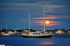 Sailboat at Lake Worth Lagoon During Full Moon | by Captain Kimo