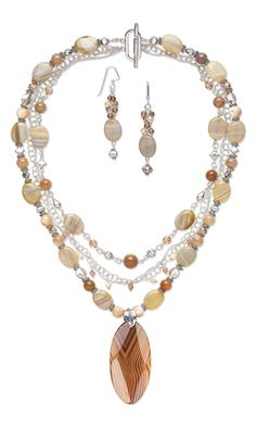 Triple-Strand Necklace and Earring Set with Agate Gemstone Beads and Focal, Swarovski Crystal Beads and Rajasthani Sterling Silver Beads - Fire Mountain Gems and Beads