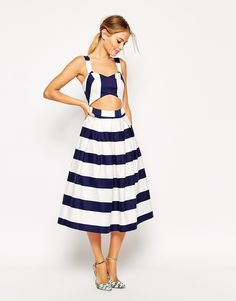 ASOS COLLECTION ASOS Stripe Cut Out Midi Prom Dress