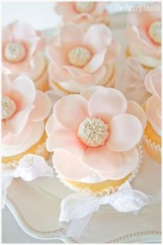 Blush Colored Floral Cupcakes with Pearl Centers by Daisy Price