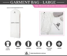 100% Cotton Large Garment Bag provides the ultimate protection against dust, dirt, mould, mildew and pesky insects (especially moths).  Organise your wardrobe and store your occasional, seasonal and favourite pieces. Ideal for your wedding dress, long coats, vintage clothing, sporting attire, costumes and more.   Regular and Large Sizes Available