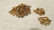Vintage Art Glass/Yellow Prong Set Rhinestone/Faux Pearl Massive Brooch/Earring