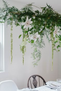 A Daily Something | DIY | Hanging Centerpiece with Greens & Spring Flowers