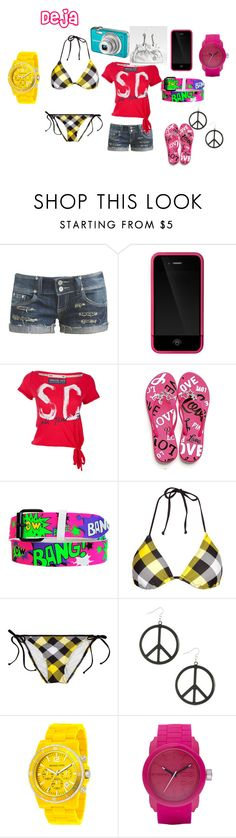"""Dejas Beach Outfit"" by soniawashere ❤ liked on Polyvore featuring Wet Seal, Incase, Soul Cal, Victoria's Secret, Christian Dior, Hobie, Michael Kors and Diesel"