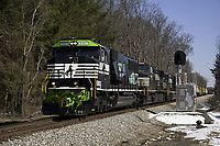 Heading for Front Royal Norfolk Southern Locomotive: EMD SD60E Location: Thoroughfare, Virginia Locomotive #: NS 6963 Train ID: NS 12R Photo Date: March 26, 2014(RailPictures.net)