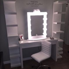 This setup is off to a gorgeous start! Featuring the Impressions Vanity Iconic XL, Impressions Vanity Waffle Chair, IKEA Malm desk & Lack shelves
