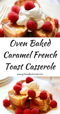 This Oven Baked Caramel French Toast Casserole is an easy, make-ahead, delicious and decadent Christmas breakfast or brunch entrée with creamy sweet caramel and luscious custard.  #frenchtoastcasserole, #christmasbreakfastcasserole, #christmasbreakfast, #brunchrecipes, #breakfastrecipes, #breakfastcasseroles,  via @gritspinecones
