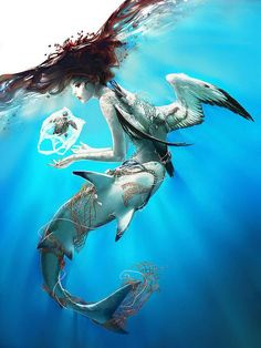 Digital Illustrations by Wenqing Yan @inspirefirst - mermaid shark metamorphosis