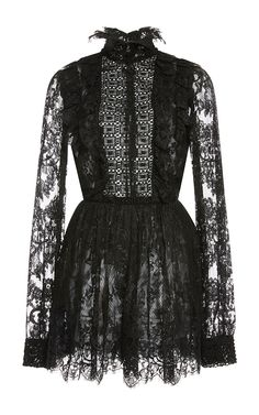Long Sleeve Lace Mini Jumpsuit by ELIE SAAB for Preorder on Moda Operandi